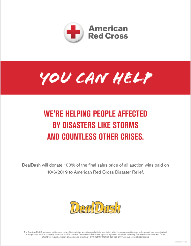 The American Red Cross donation from DealDash