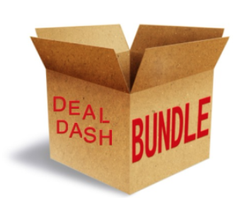 "Shipping box that says ""DealDash Bundle"""