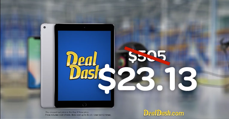 DealDash TV advertisement showcased iPad sold for only $23.