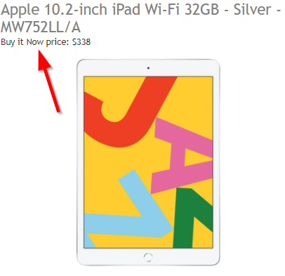 An auction for an Apple iPad with the Buy It Now price displayed.