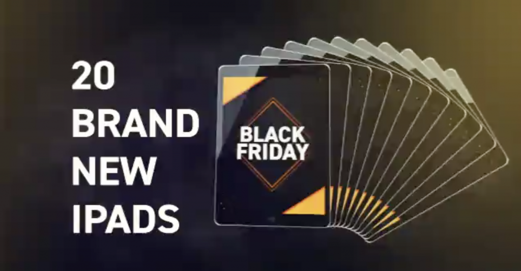 DealDash TV ad features 20 iPads been auctioned on Black Friday.