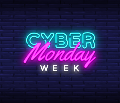 A neon sign advertises the beginning of Cyber Monday Week on DealDash.