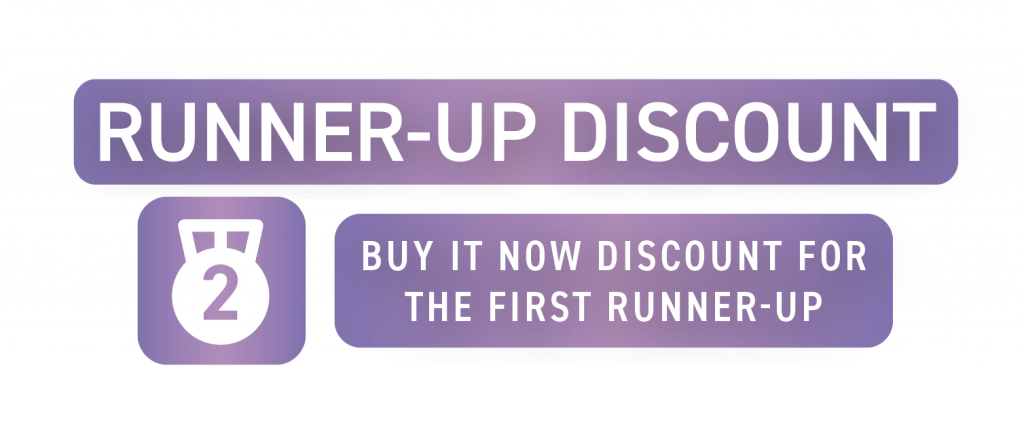 A promotional image advertises DealDash's Runner-Up Discount which awards a discount to second-place finishers.