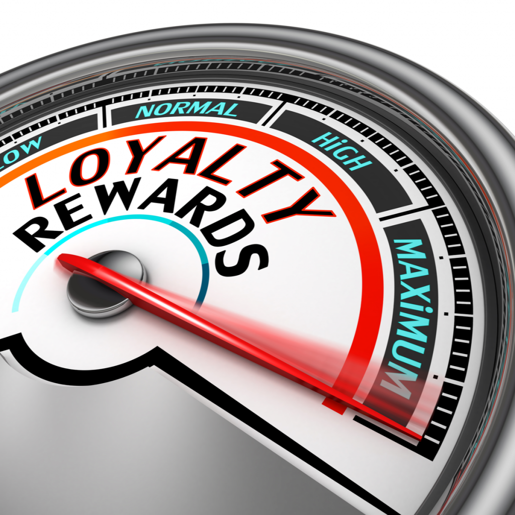A gauge showing the quantity of loyalty rewards issued is pushed to the max.