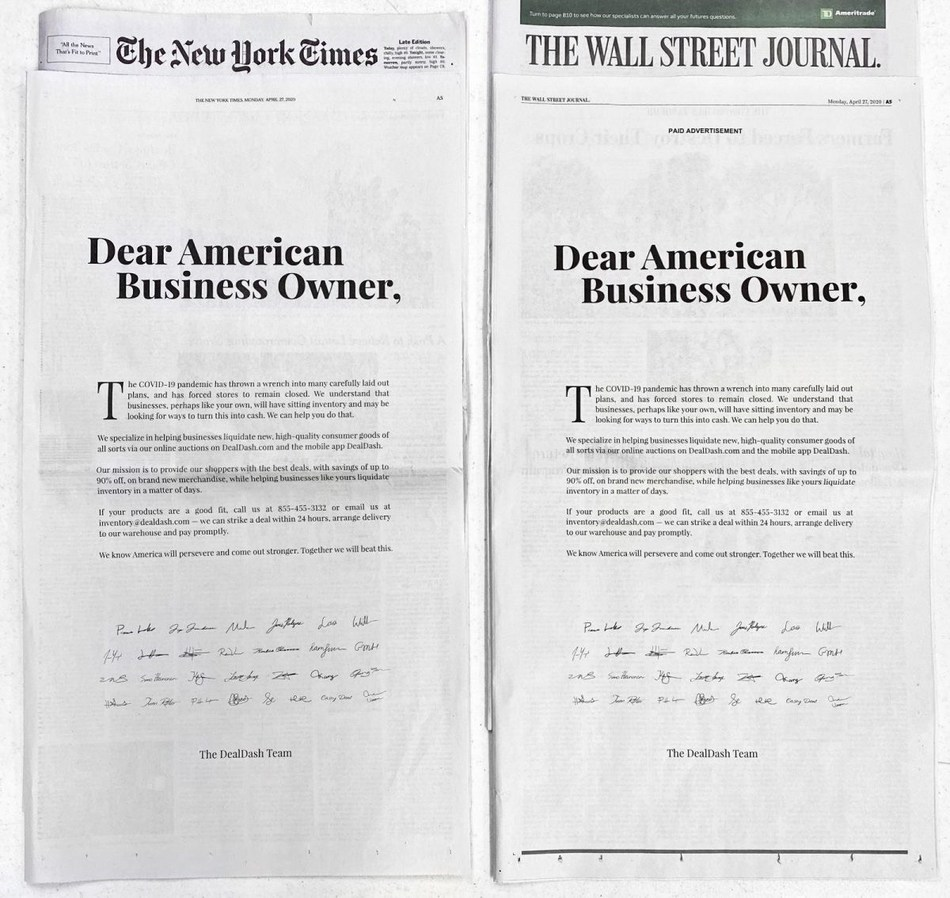 A newspaper ad for DealDash speaks to small business owners that were hurt by unexpected closure in early 2020.