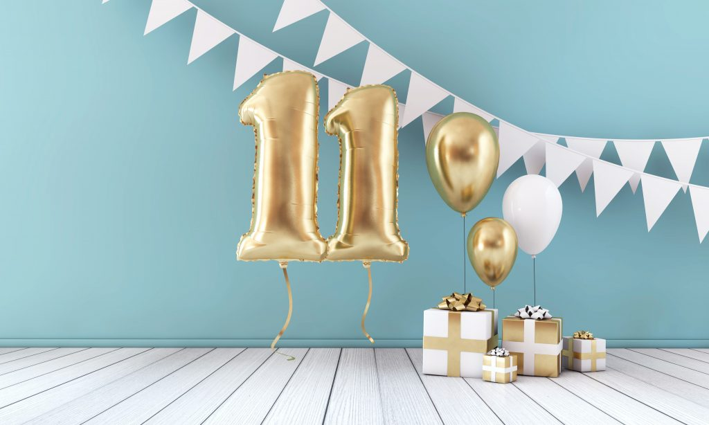 Balloons and gifts sit in a room and create excitement about the 11 Years of DealDash Promotion.