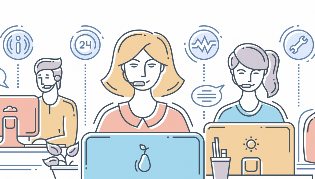 A cartoon depicts a customer support team that is solving an array of problems.