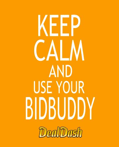 A meme tells DealDash bidders to keep calm and use the BidBuddy-an automatic bidding tool DealDash provides.