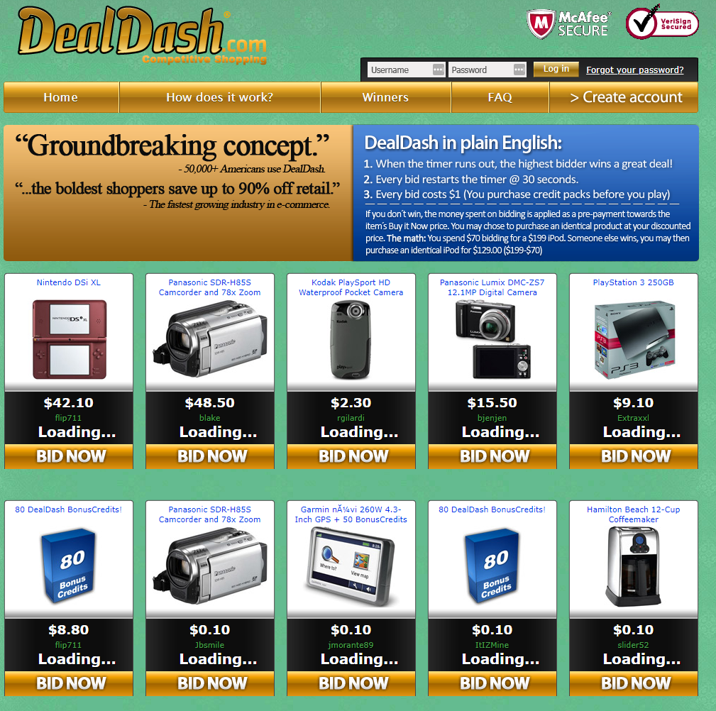 The DealDash website shown as it appeared in 2009.