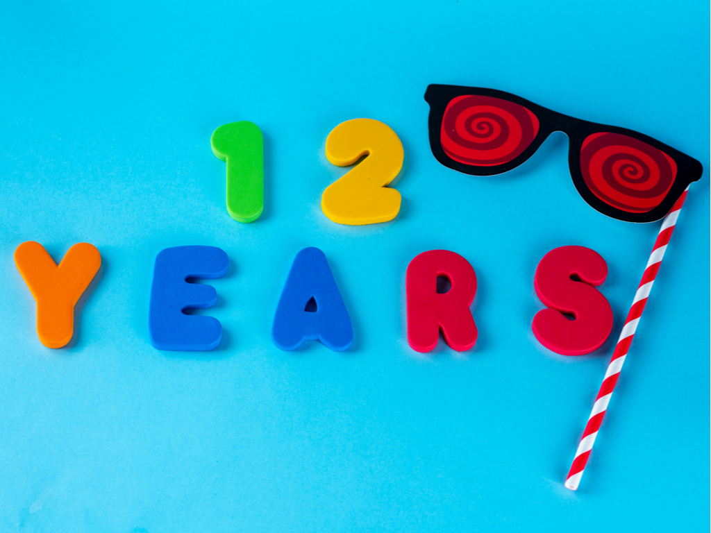 Colorful letters spell out ''12 years'' and indicate that a big party is right around the corner!