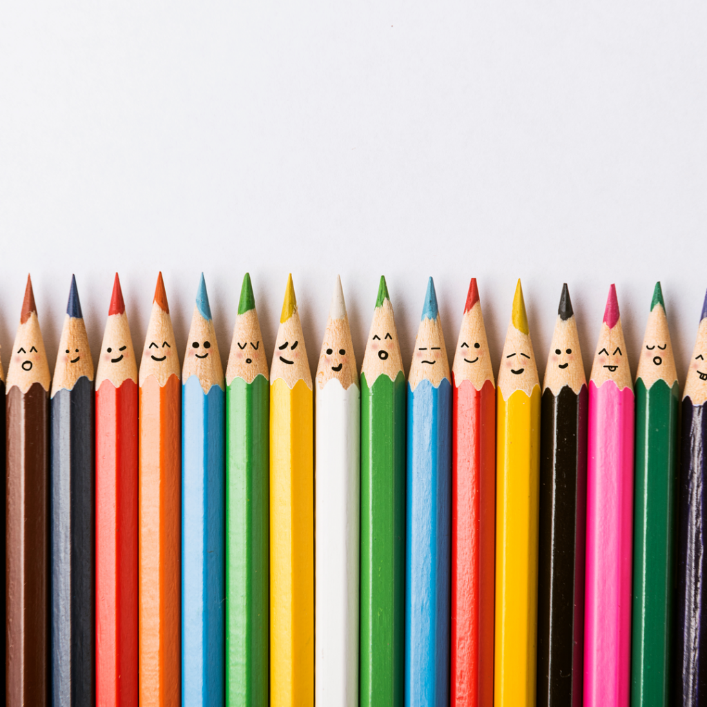 A set of colored pencils represent the diverse makeup of DealDash's customers and employees.