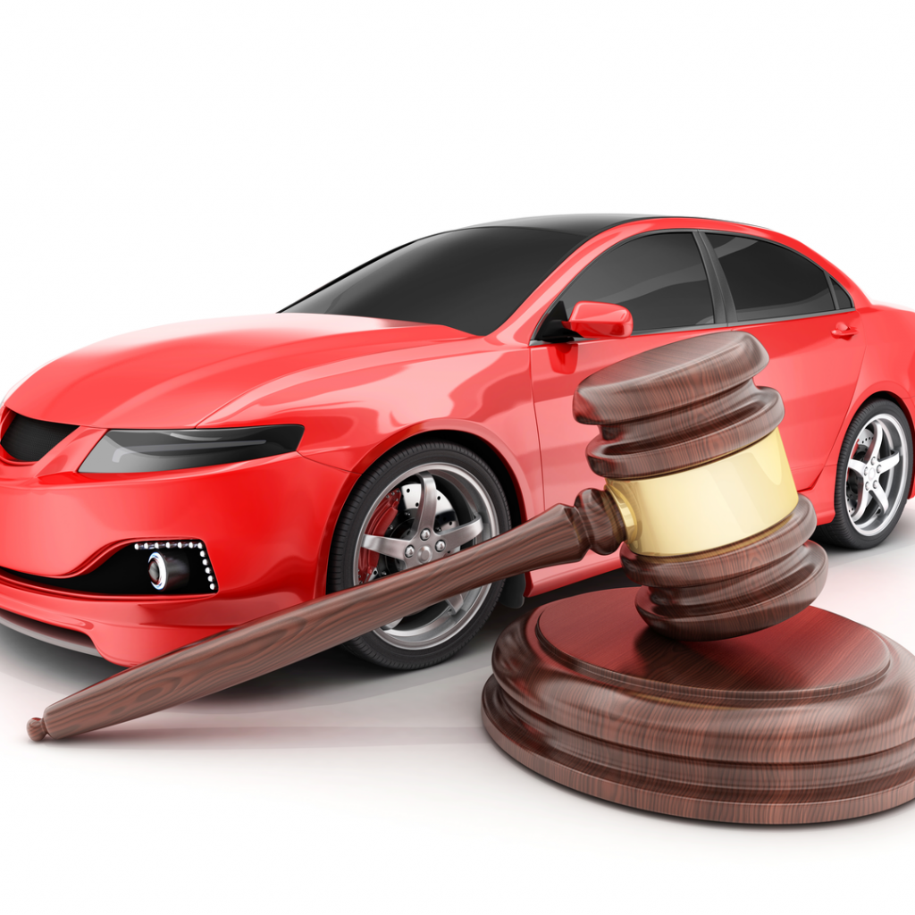 An auction gavel sits in front of a red sports car-which happens to be an item you can bid on using DealDash!